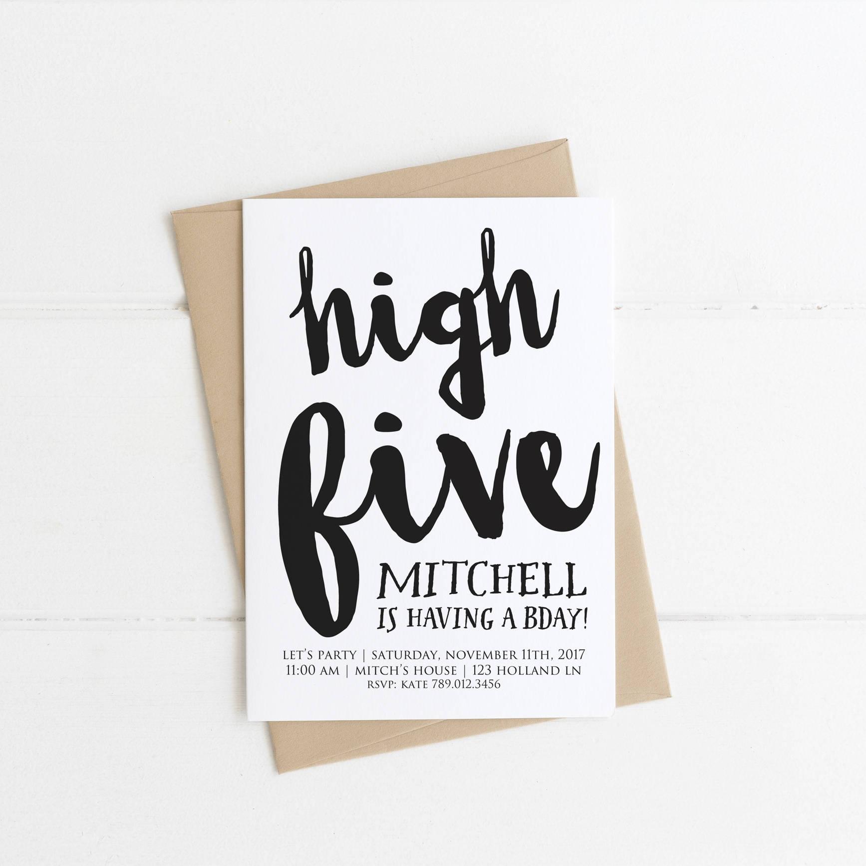 High Five 5th Birthday Invitation Black and White Hi Five | Etsy