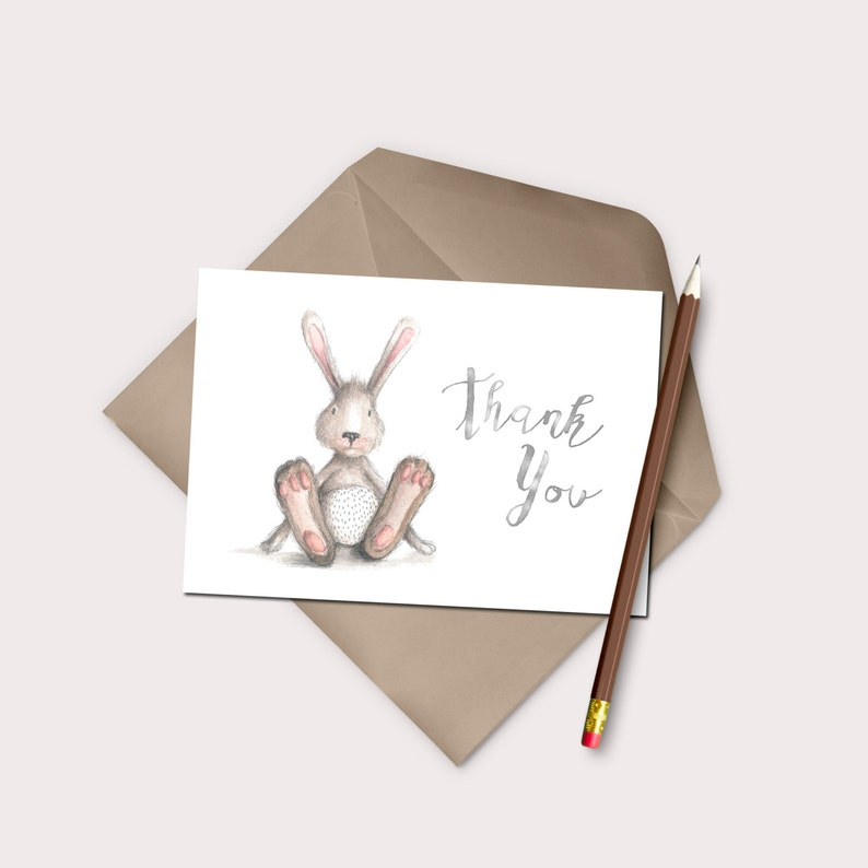 Bunny Thank You Card Printable Instant Download Gender Neutral Thanks Rabbit Stationery Generic Baby Shower DIY Thanks Easter Thank Yous