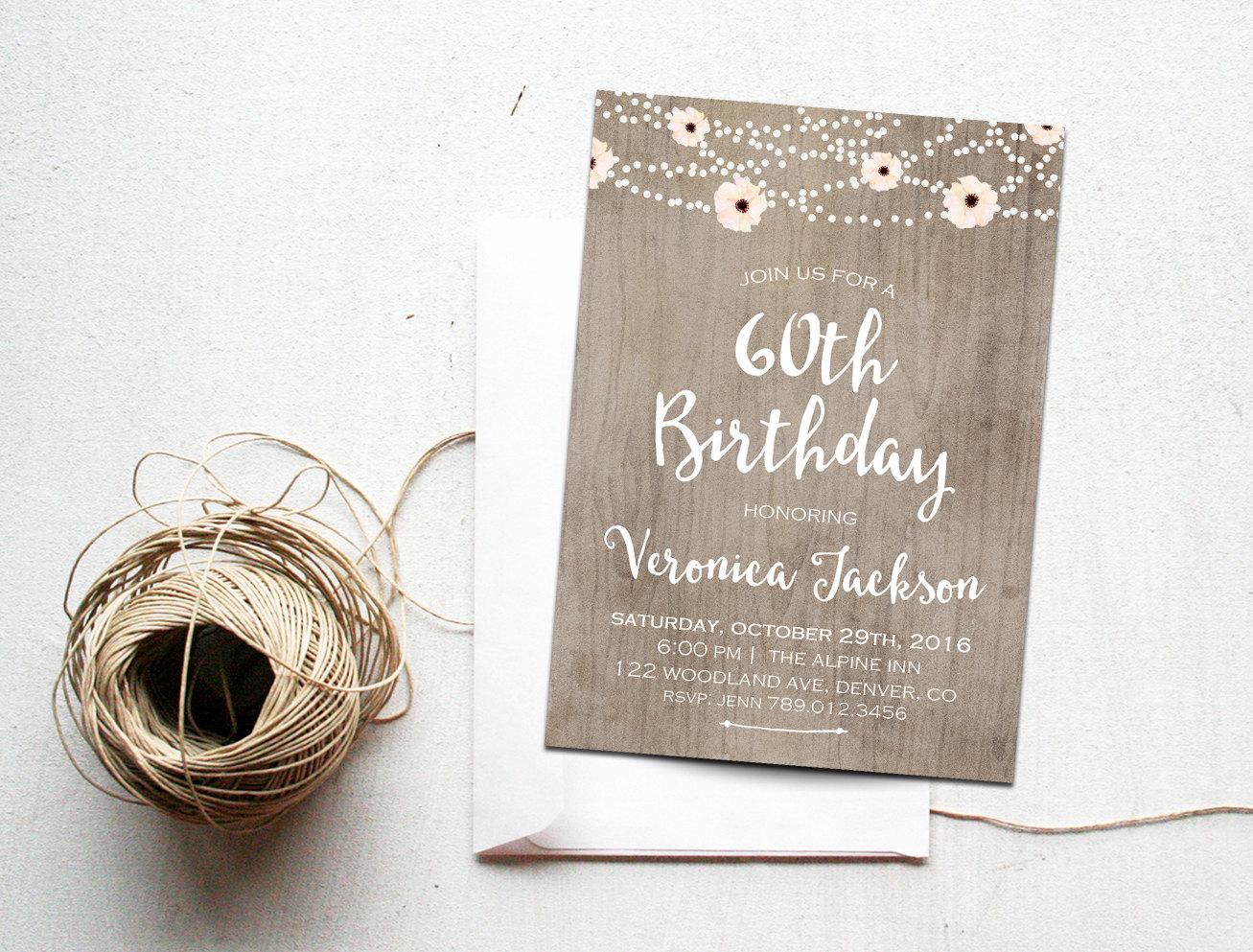 60th Birthday Invitation Printable Rustic Bday Invite   Etsy