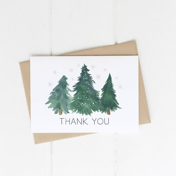 Christmas Thank You Card Printable Instant Download Winter Etsy