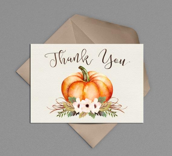 Pumpkin Thank You Card Printable Little Pumpkin Baby Shower Etsy