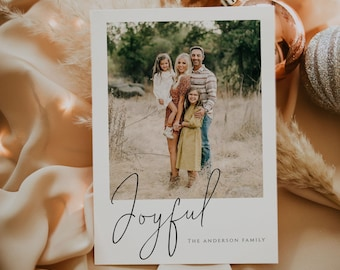 JOYFUL Christmas Card with Photo, PRINTED or DIGITAL Family Picture Holiday Card file, Minimalist Simple and Modern