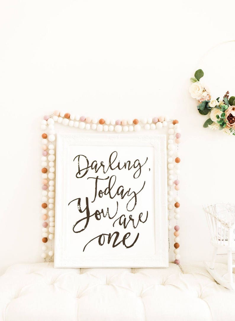 Darling Today You are One Birthday Decor 1st Bday Party image 0