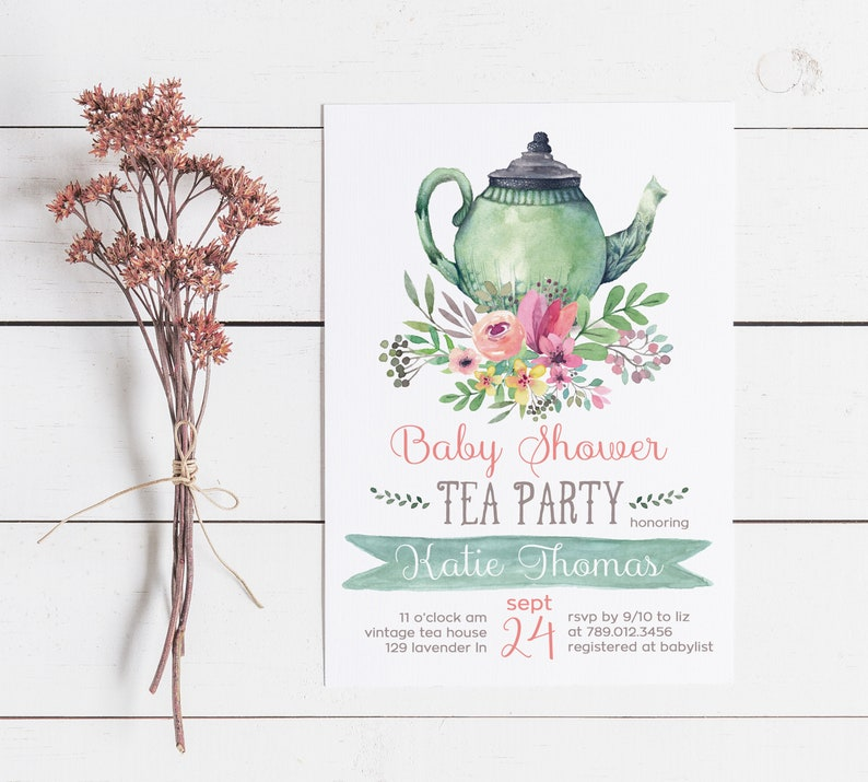 Tea Party Invitations Printable Baby Shower Invite Baby Is Brewing Floral Tea Pot Tea For Two Twin Baby Shower Gender Neutral