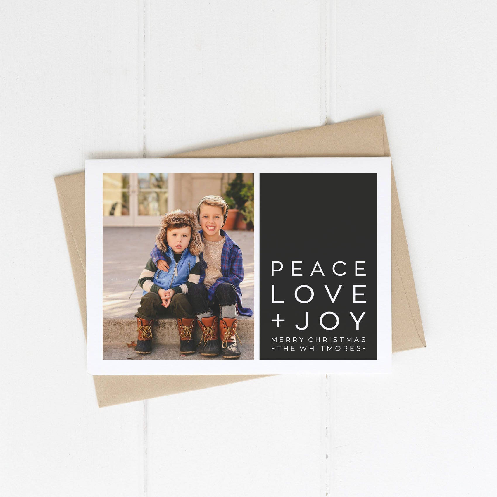 Printable Christmas Card with Photo Simple and Modern Black | Etsy