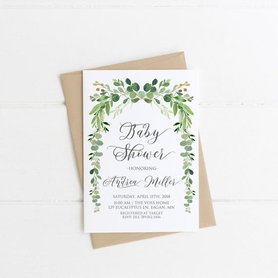 picture relating to Bridal Shower Printable Invitations named Little one Shower Invitation, Gender Impartial Child Shower Printable Invite, Greenery Eucalyptus Invitation, Eco-friendly and White, Boy