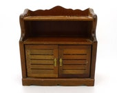 Vintage Dollhouse Miniature Collectible Bedroom Furniture Bookcase Cabinet Wood Detailed