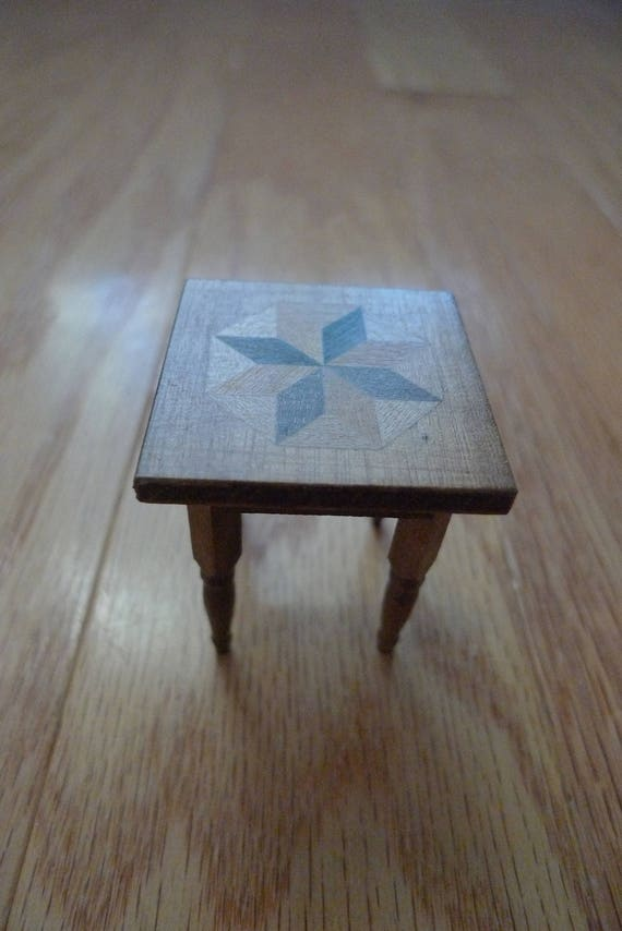 image 0 - Antique Dollhouse Miniature Inlaid Wood Table Star Pattern Etsy