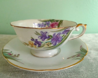 Vintage Gladiola Floral Purple Pink Yellow Tea Cup and Saucer Ucagco China Made in Japan