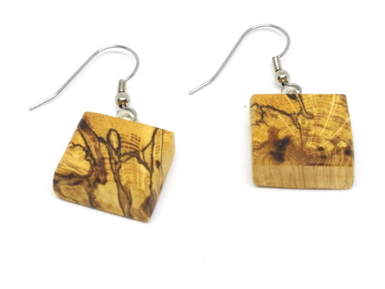 5th Anniversary Gift for Wife Handmade Wood Dangle Earrings Unique Minimalist Jewelry Birthday Gift for Her Boho Earrings Jewelry Gift