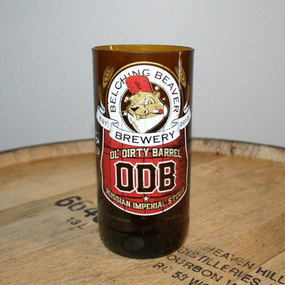 UPcycled Pint Glass - Belching Beaver - Ol Dirty Barrel Russian Imperial Stout
