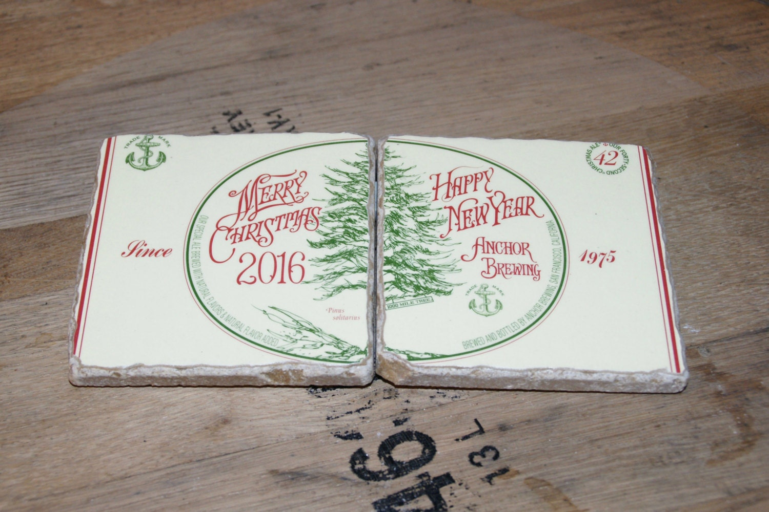 Upcycled Coaster Set Of 2 Anchor Brewing Merry Christmas Happy New Year 2016