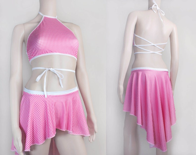 f1d68b6514a Pink Gingham Two Piece Festival Outfit Stripper Outfit High