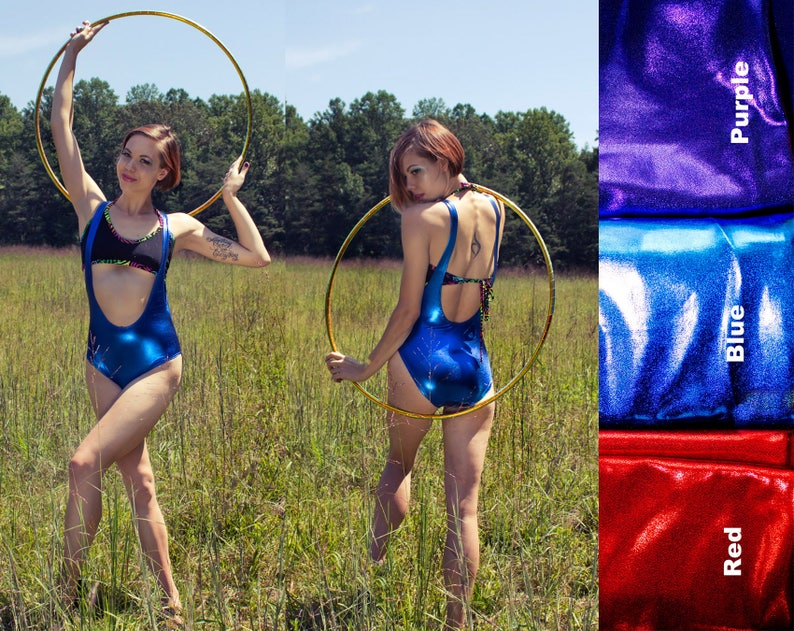 8a1e401a1e89 Metallic Suspender Bodysuit Weight Lifter Wet Look Spandex Lycra Shiny  Bodysuit Suspender Leotard Low Neckline Rave Bodysuit Red Purple Blue