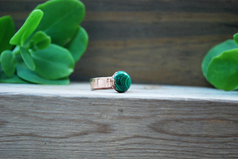 Custom Malachite Copper Ring ~ Malachite /& Copper Statement Cocktail Electroformed Ring ~ EmmaLeah Designs