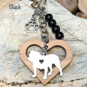 dog bag charm English bulldog jewelry Bulldog pet memorial keychain pet loss pet keepsake jewellery dog key chain