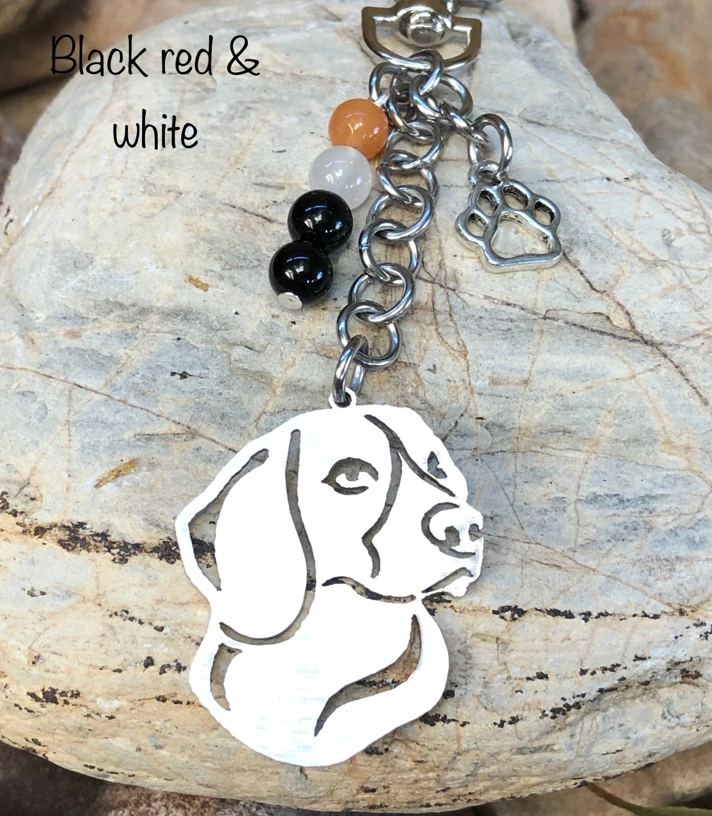 high quality keychain Art Dog Basset Hound silver covered necklace