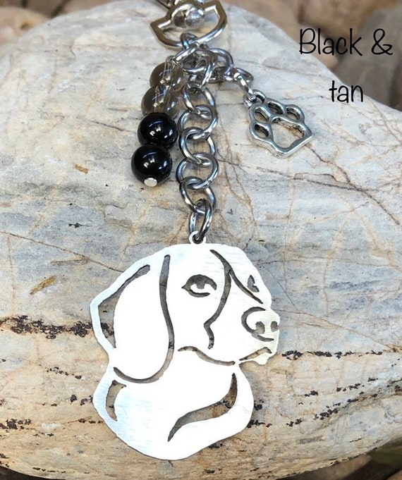 Silver Beagle Key Ring// Bag Charm With Quality Charms