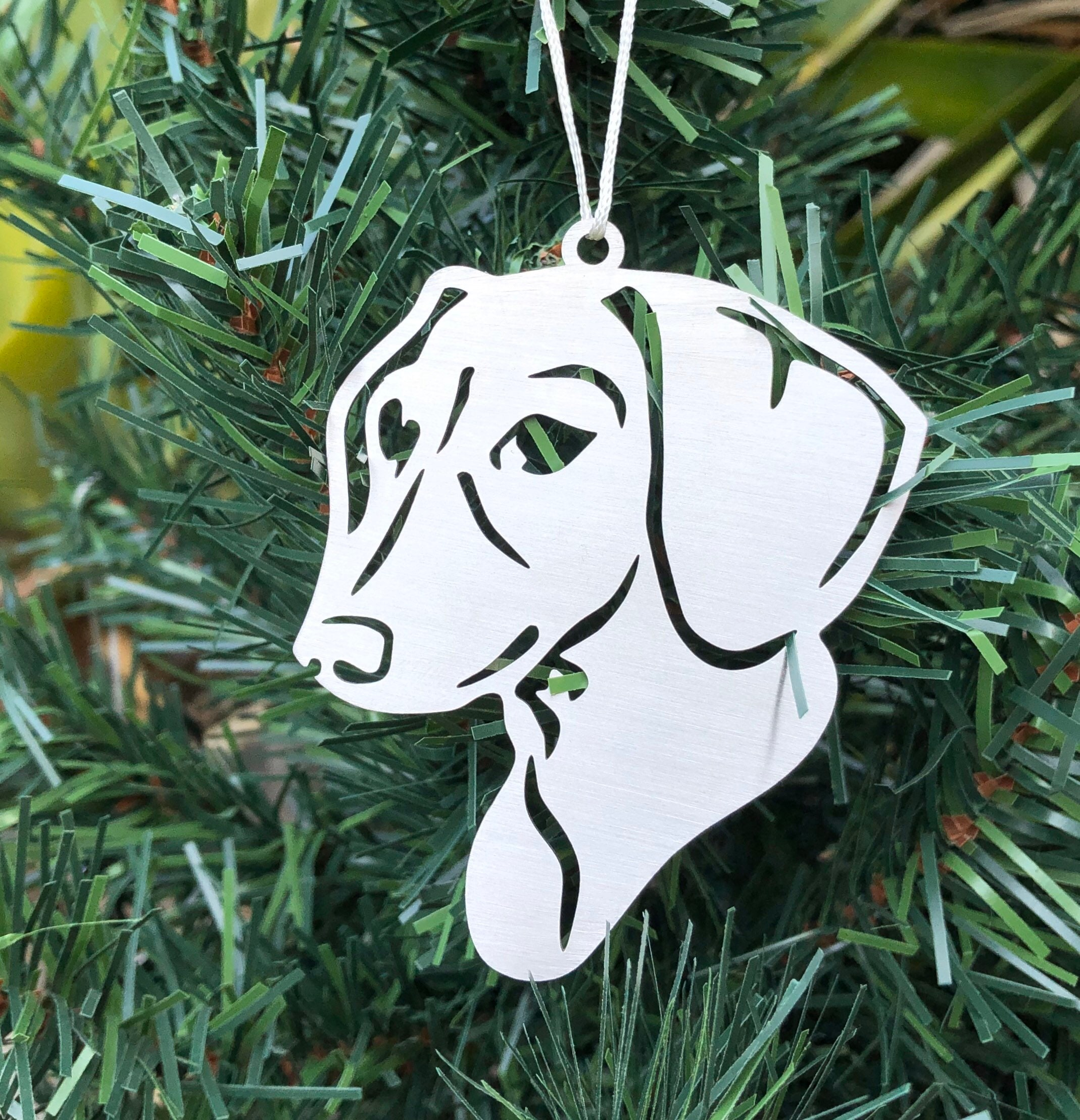 Dachshund Dog Stainless Steel Christmas Ornament Dachshund Dog Face Tree Ornament Xmas Hanging Decoration