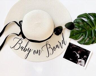 Baby On Board Hat Beach Pregnancy Announcement Baby Is Brewing Straw Hat Babymoon hat Floppy Beach Hat Pregnancy Reveal Beach Sun Hat