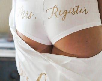 Bride gift. Lingerie shower underwear. Bridal lingerie. customized last name Bride underwear.lingerie.Bridal shower gift. Bridal Underwear