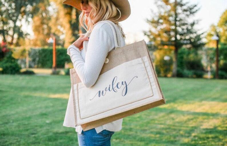 wifey tote bag. Bride gift. wifey beach bag. Honeymoon beach image 0