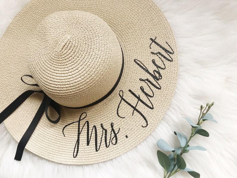 Bride gift.Custom last name beach floppy hat. bridal shower image 1