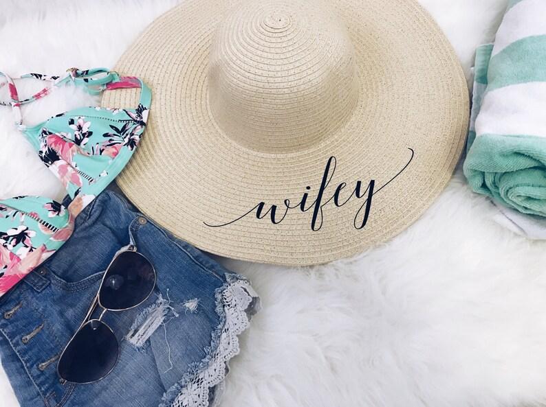 Wifey beach floppy hat. bridal shower gift. custom floppy hat.  7643a6df172