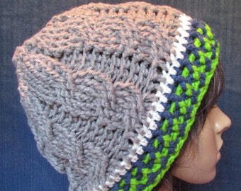 Grey Seattle Seahawks Cable Knit Beanie with Blue and Green Stripped Brim c966daae2