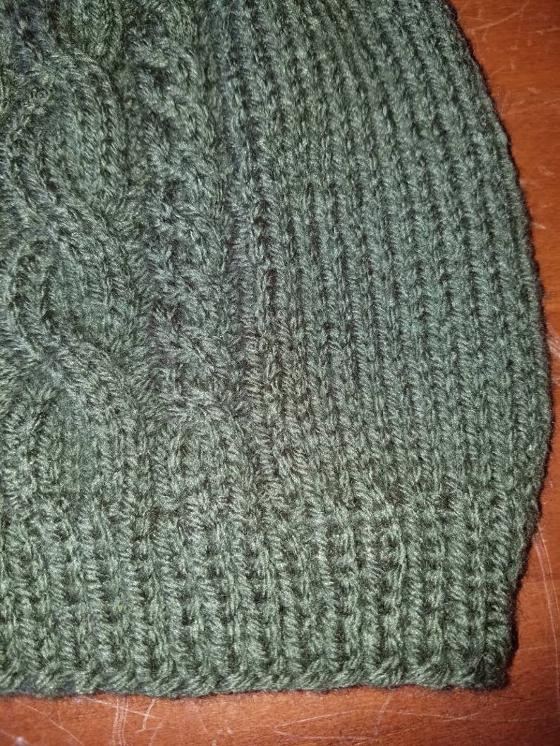 The Olivia Double Cable Knit Beanie in Olive