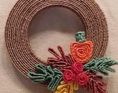 pin, Fall wreath pin, autumn wreath pin, Holiday pin, decorative pin, seasonal pin, Gift wrap charm, Braided straw pin, Teacher gift, boho