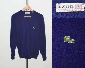 Vtg Navy Blue Izod Lacoste Men's Cardigan Size L | Vintage Lacoste Men's Cardigan Sweater