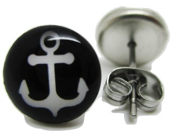 Black & White Anchor Earrings - New - Pair!
