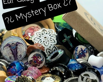 MYSTERY BOX - 3, 5, 10 or 20 Pairs - All Brand New Ear Gauges in Your Size! - 12 Size Options & 4 Quantity Options!! Ear Plugs