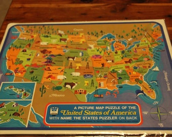 Vintage us map Etsy
