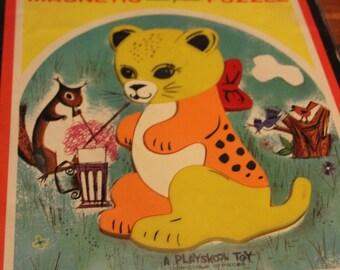 Vintage preschooler puzzle: Magnetic inlaid plastic
