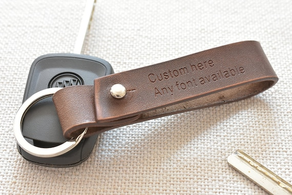 Leather keychain personalized key chain engraved key ring  3f819a3304