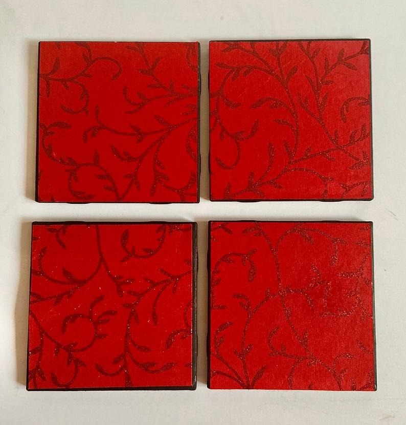 decoupage bar decor Vintage decoupage red coasters  decoupage ceramic tiles decoupage on glass decoupage card stock print decoupage gift