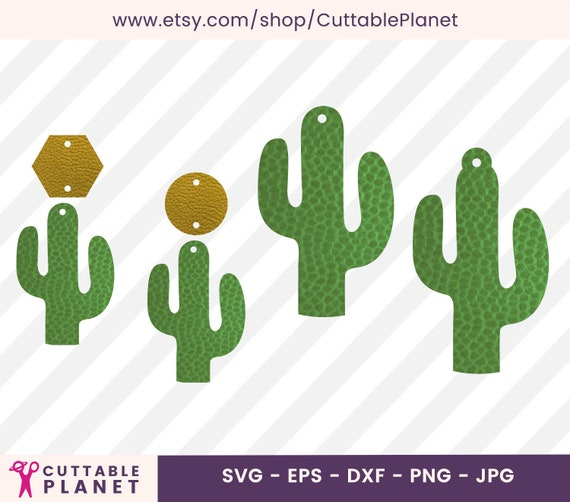 Cactus Earring Template Svg Dxf Eps Png Jpg Faux Leather Etsy