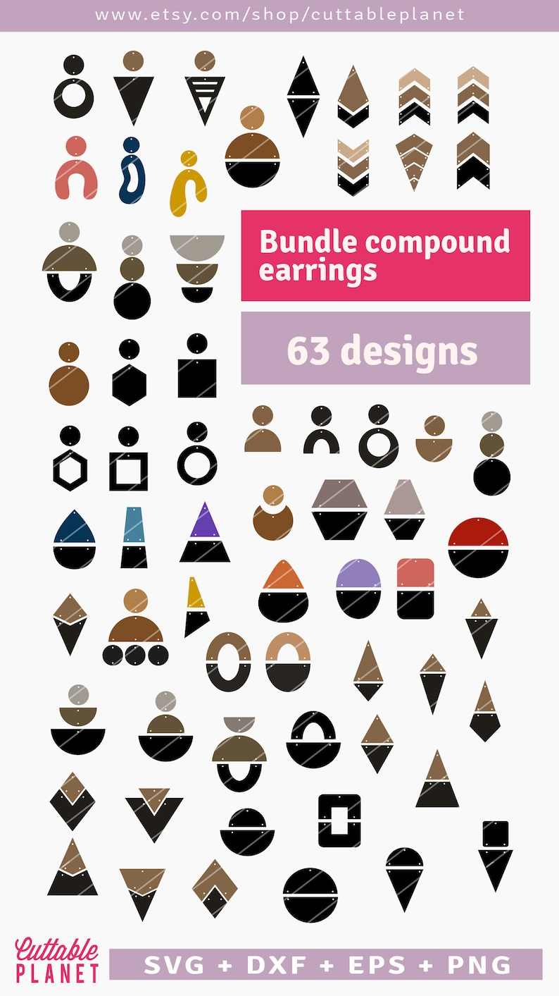 Bundle compound earrings svg dxf eps png faux leather image 0