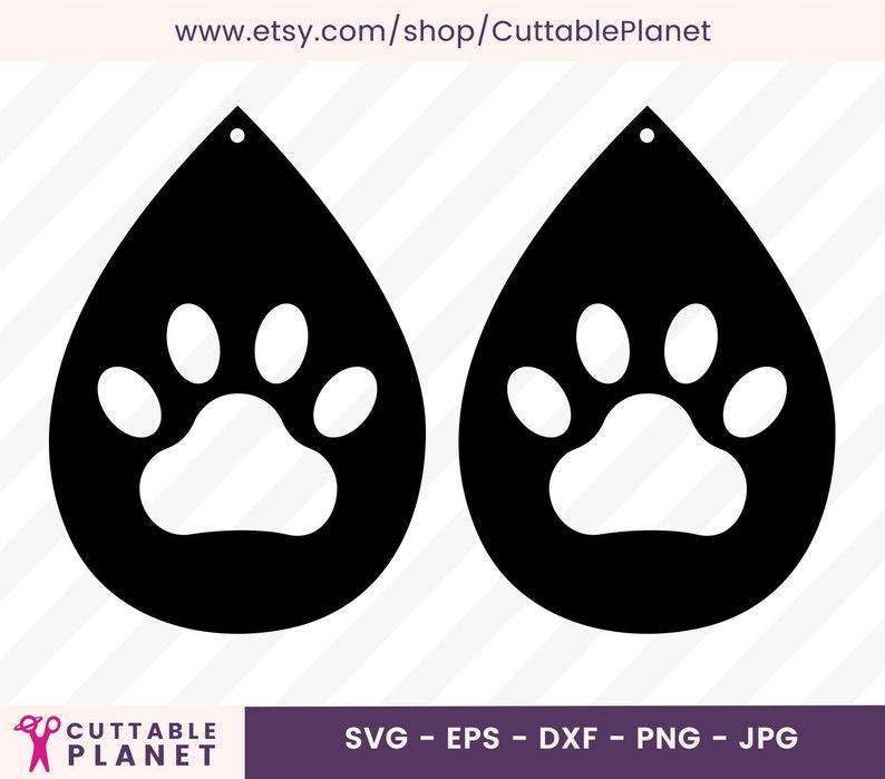 Pawprint Earrings Svg Dxf Eps Png Jpg Earrings Template Etsy