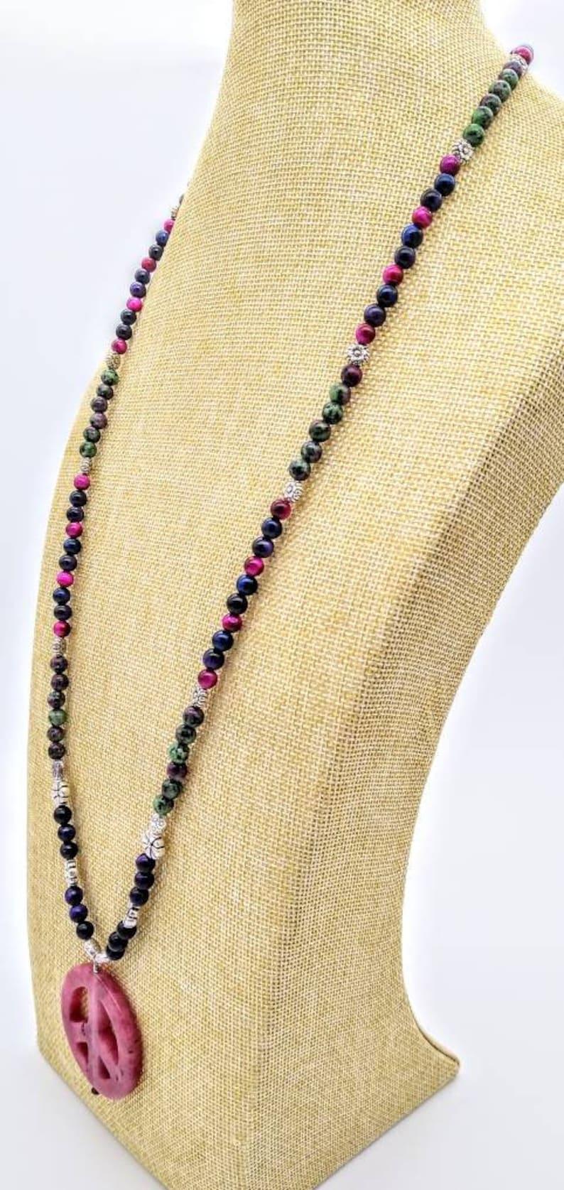 peace symbol necklace boho gemstone beaded necklace with peace symbol pendant reiki gemstone beaded peace necklace