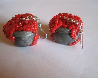 Pewter and Red Witch's Cauldron Earrings