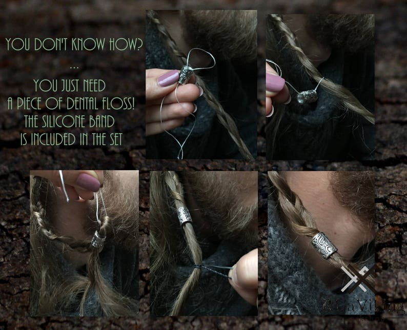 silverplated bronze 8.5 mm inner diameter beard bead beard ring with pattern inspired with Viking beast motiffs Beast