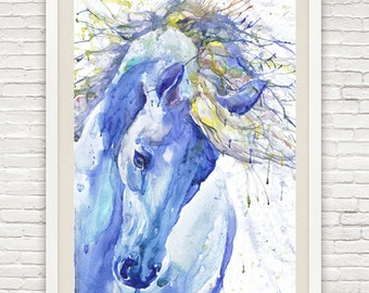 Horse Painting Equine Art Watercolor Paint Equestrian Decor Watercolor Horse Wall art Horse Head Print Horse Gift for Girl