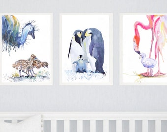 Bird Nursery Decor Set of 3 prints Mother And Baby Watercolor Painting  Bird Nursery Print Gift for new Mom Girl Boy Bird Nursery Art