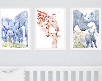 Zoo Animal Nursery Decor Family of 3, Set of 3 Prints, Watercolor Painting , Family Art, Jungle Safari Watercolour Animals are friends Three