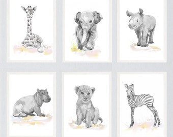 Neutral Nursery Decor Safari Art Set of 6 Prints  Baby Watercolor Painting  Boy  Girl  Animals Gray Pink Yellow Wall art Watercolour Print