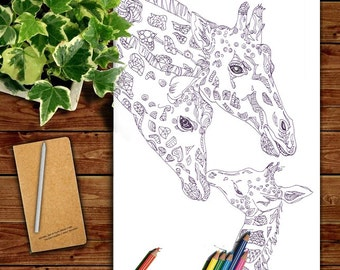 Coloring Pages Giraffe Printable Adult Book Clip Art Hand Drawn Original Zentangle Colouring Page For Download Doodle Picture