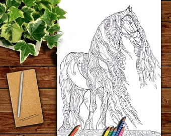 Coloring Pages Horse Printable Adult Book Clip Art Hand Drawn Original Zentangle Colouring Page For Download Doodle Picture
